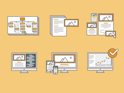 Website Process yellow illustrator icon illustration ux ui website