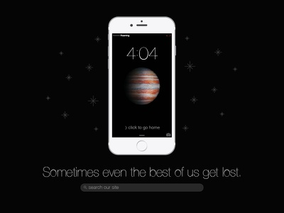 iPhone 404 space lost design web ux ui 404