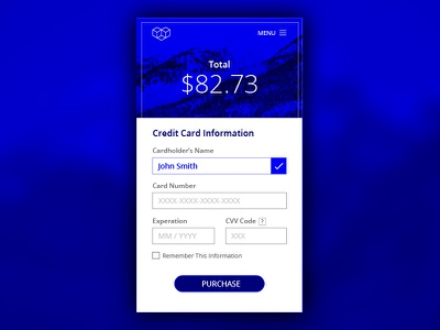 Daily UI 002  credit card check out blue ux ui daily ui uiux