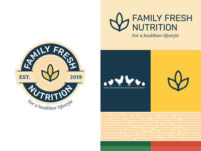 Family Fresh Nutrition grain nutrition yellow blue vector design illustrator symbol icon branding logo typography illustration