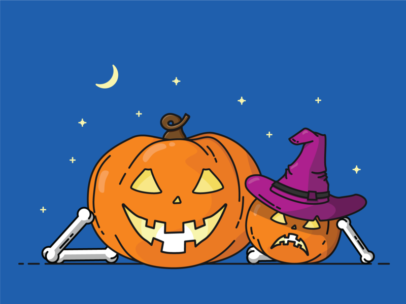 Pumpkin Carving bones bone hat witch twinkle stars night hollow knight carving pumpkin pie halloween pumpkin vector icon design illustrator blue illustration
