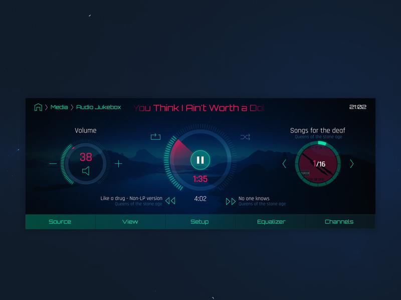 Car audio player UI in Sci-Fi style cockpit ui hmi sci-fi