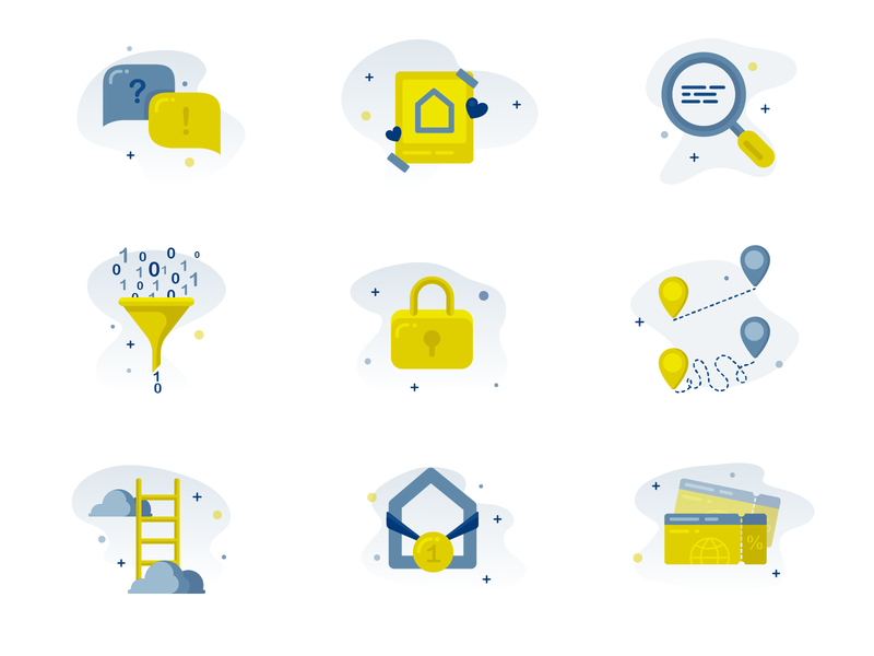 Icons for a digitalisation presentation travel winner goal optimize lock filter likes contact search design vector icons flat icon illustration