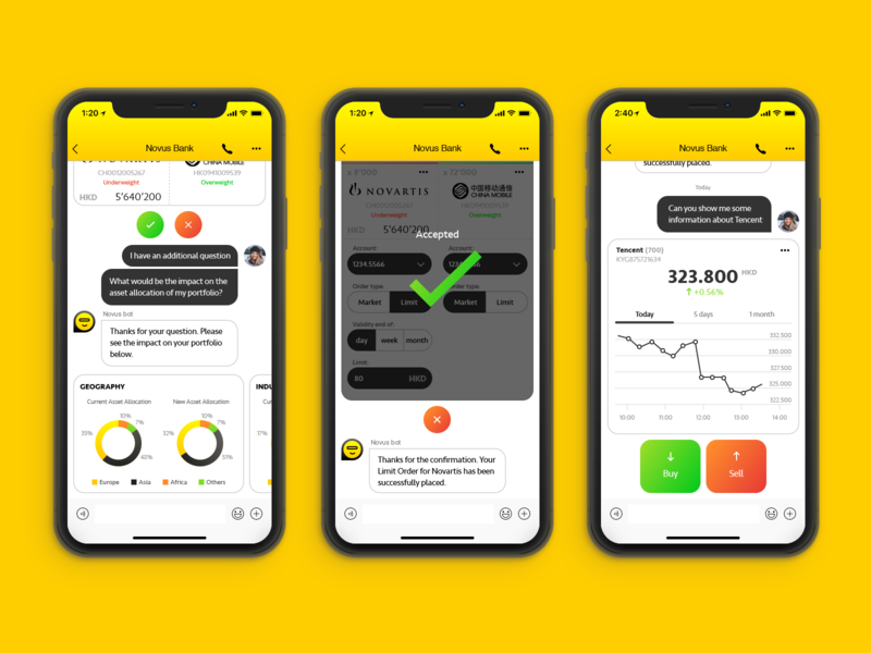 Conversational banking chatbot carts flat ui design mobile ui