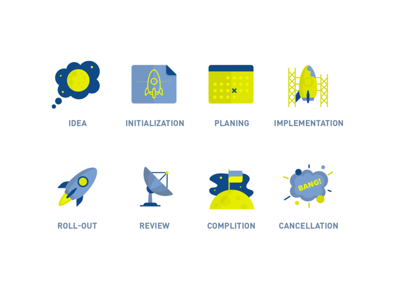 Project status icons explosion calendar blueprint rocket moon cancellation complition review roll-out implementation initialisation planing idea vector flat icons icon illustration