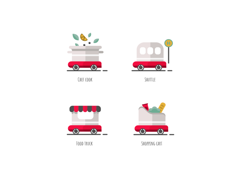 Service Icons autonomous branding flat shopping cart food truck chef cook shuttle food delivery illustrations icons