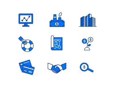 3PO Consulting: Icons payment process software treasury finance icons set branding iconography icons