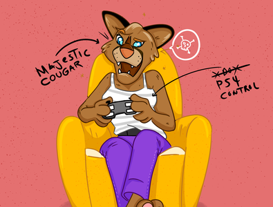 Cougar Playing Video Games