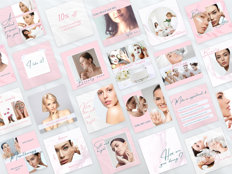 Instagram Templates for Canva instagram creator square instagram post templates square instagram post templates clean design pink instagram layout instagram grid puzzle feed cover for stories highlights instagram post beauty  instagram template canva template instagram templates