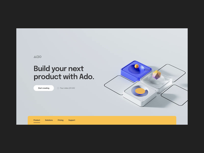 3D Motion Design for Ado graphic design motion graphics 3d illustration app screen design interactive animation ui motion