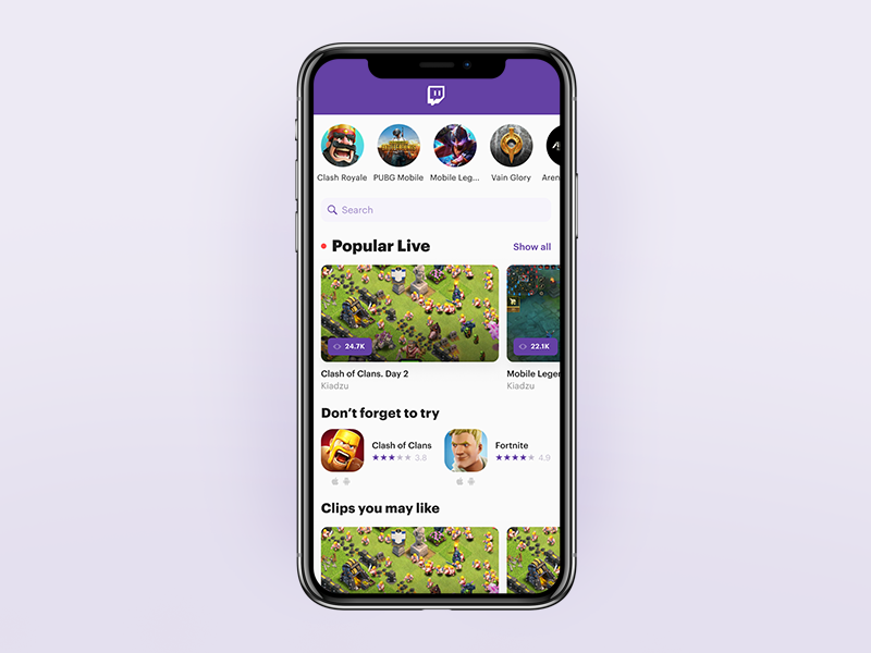 Twitch Mobile. Home Screen ui mobile iphone ios esports app