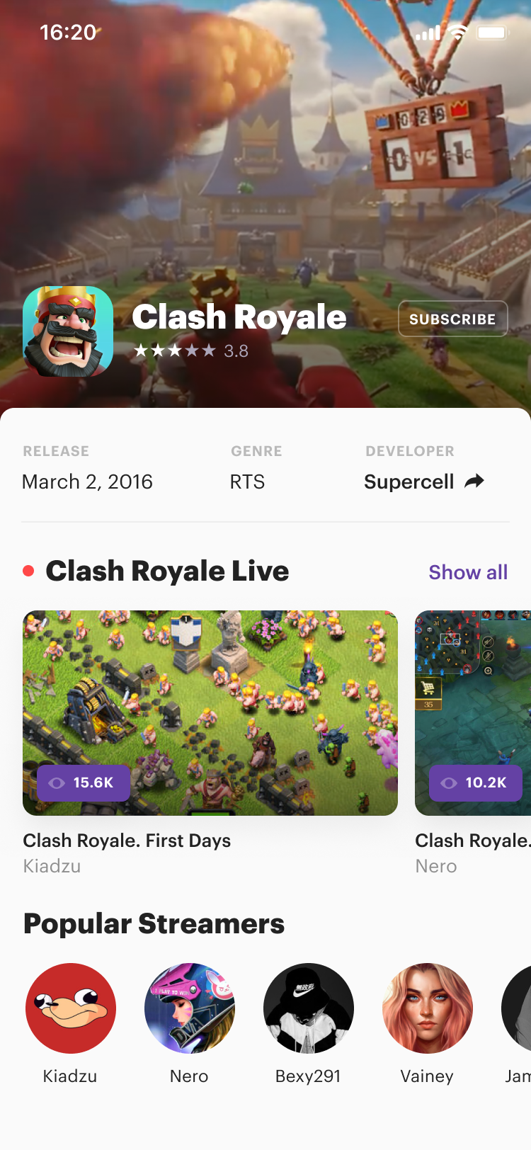 Twitch mobile. clash royale