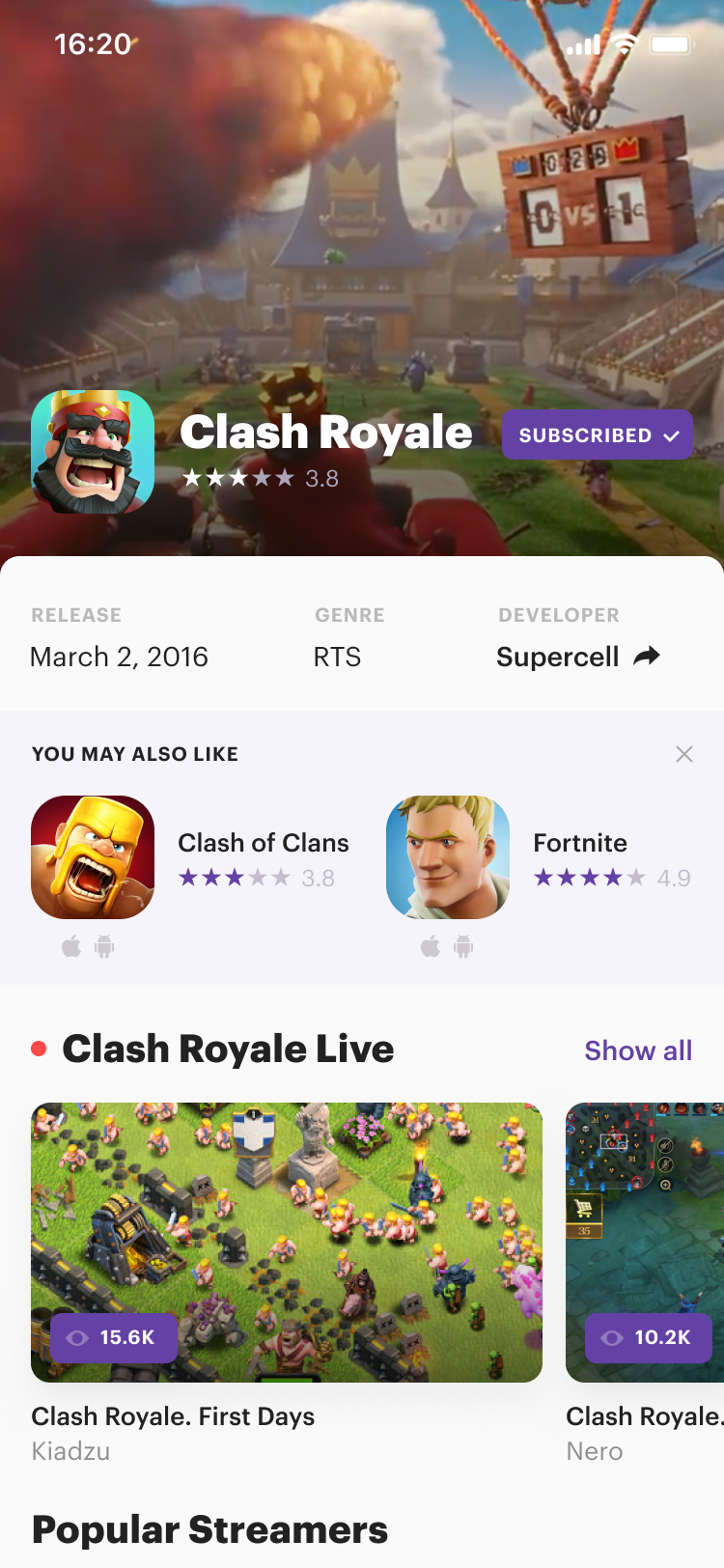 Twitch mobile. subscribed