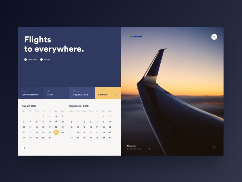 Ryanair calendar form flights website ui