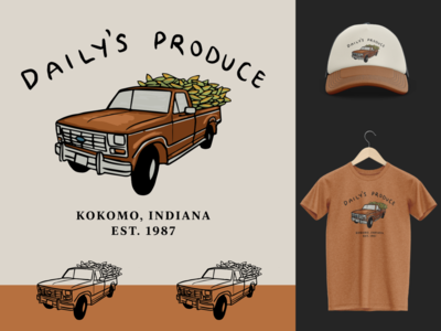Daily's Produce Logo redesign vintage nostalgic country old truck midwest rustic hat t shirt merch design farmer farming corn pickup truck illustration identity branding logo