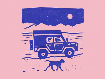 Jeep and dog adventure merch design t shirt mountain lake travel roadtrip truck animals illustration 4x4 overlander overland driving beach mountains rubicon jeep labrador retriever pup dog