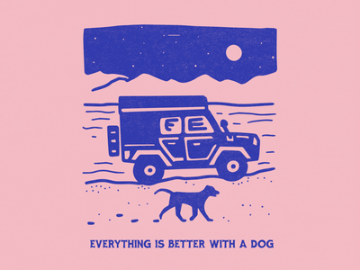Jeep and dog adventure merch design t shirt mountain lake travel roadtrip truck animals illustration 4x4 overlander overland driving beach mountains rubicon jeep labrador retriever pup dog