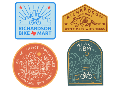Bike Shop Merch Designs 2020 city illustration dallas texas bike cycling biking badgedesign merchandise t shirt landscape drawing outdoors nature illustration