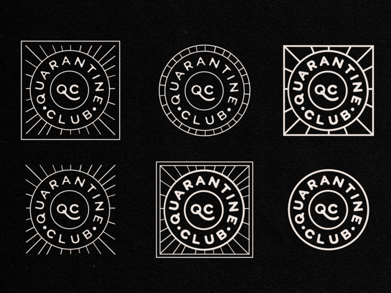 Quarantine Club Badges icon vector ui covid19 quarantine circle logo graphicdesign typography logotype logo branding branding and identity patches badge badgedesign