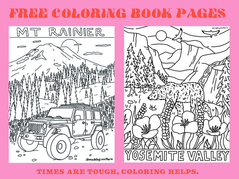 Free Coloring Book Pages mural outdoors pnw trees mountains flowers merch design nature illustration line art california washington bear jeep nature illustration hand drawn color book page coloring book mt rainier yosemite