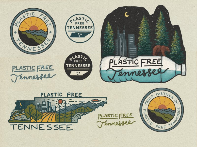 Plastic Free Tennessee Logo and Brand Identity flashsheet tennessee sticker outdoors plastic free nature circle logo nashville merch design logotype logo line art landscape illustration eco friendly branding brand identity brand icons brand design badge design