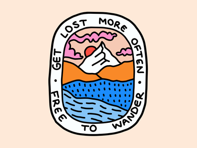 Get Lost badge hiking healthy lifestyle travel explore sticker patch outdoors merch design illustration mountains badge design
