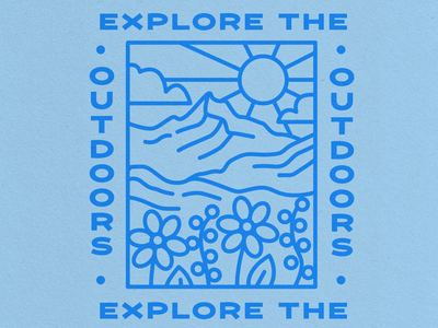 Explore the Outdoors Illustration travel branding simple vector mountains outdoors nature landscape outdoor illustration line art graphic design illustration merch design t shirt