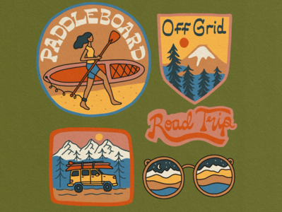 Road Trip Travel Illustration Badges jeep wrangler outdoorsy mountains off grid adventure handlettering adobe fresco roadtrip merch design illustrated badges badge branding outdoors illustration