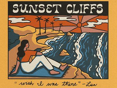 Sunset Cliffs Vintage Postcard branding landscape handlettering outdoors travel nature illustration ocean vintage postcard coastline california san diego sunset cliffs