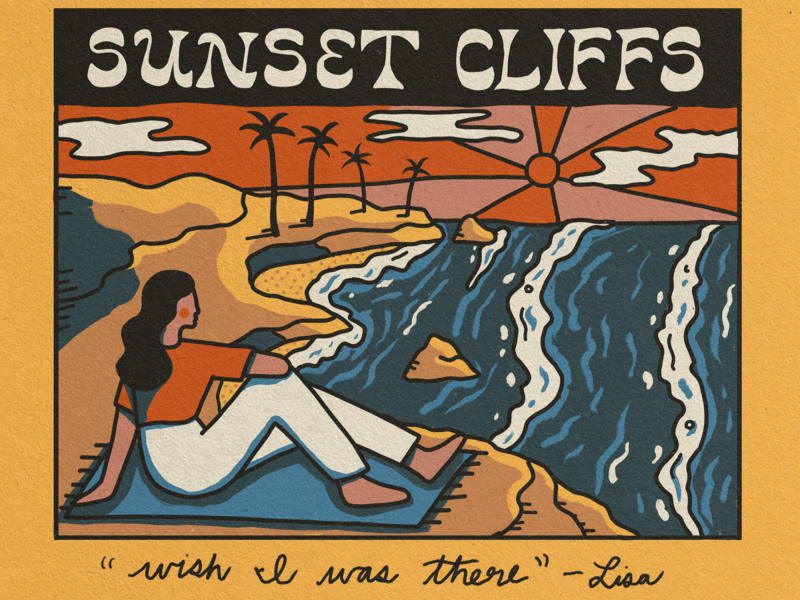 Sunset Cliffs Vintage Postcard branding landscape handlettering outdoors travel nature illustration ocean vintage postcard coastline california san diego sunset cliffs