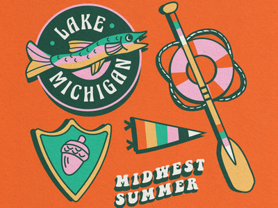 MIDWEST SUMMER outdoors nature illustration pattern nostalgic midwestern vintage nautical lake merch badge design retro summer party summer camp lake michigan nostalgia summer midwest