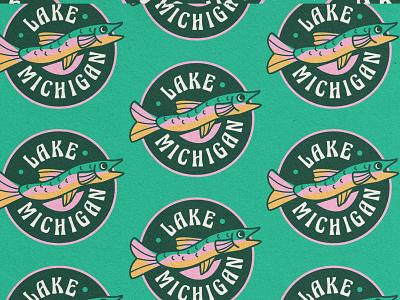 Lake Trout vector logo simple nature illustration outdoors midwest t shirt merch badge bass lake lake michigan fishing fish trout