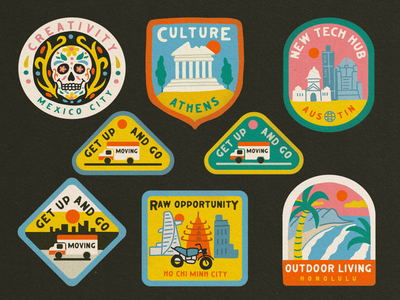 """Work Remotely"" World City Badges remote working wfh wes anderson travel remote work patches mexico city city illustration honolulu ho chi minh city entrepreneur editorial illustration cityscape city guide badges badge illustration austin athens"