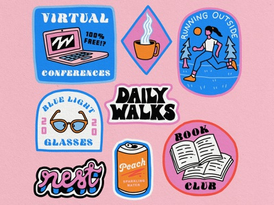 Work From Home badges: October edition! stickers gif mental health bright playful lettering healthy lifestyle book club self care quarantine work from home virtual running patch badgedesign badge illustration