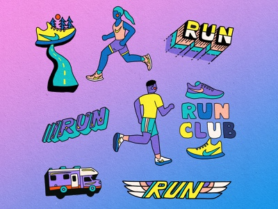 Nike Run Club Gif Stickers branding social media colorful sports characterdesign trail running health fitness running run nike gifs stickers sticker gif