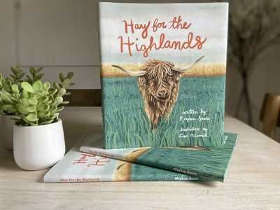 """Hay for the Highlands"" children's book illustrations barn tractor book cover kids cattle cow highlands highland hay farming farm digital painting fresco children book illustration childrens book"
