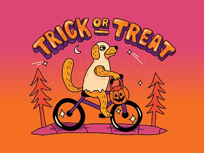 Trick of Treat Doggo GIF (Halloween 2020) adobe fresco animated bubble letters character animal pup socialmedia hand lettering colorful playful bike sticker gif halloween dog vector branding illustration