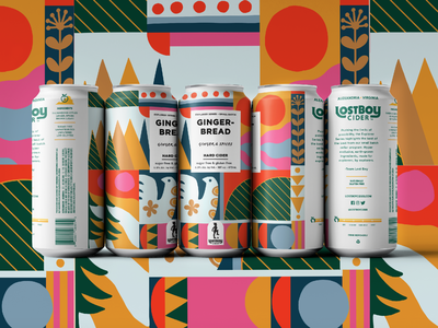 Lostboy Cider January Can Label colorful abstract gingerbread scandinavian nordic line art vector branding outdoors mountains can packaging label design label cider