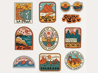 Outdoor Badges (rejected designs) t shirt illustrated badges adventure roadtrip merch badge ocean california colorado aquarium zoo mountains outdoors nature illustration