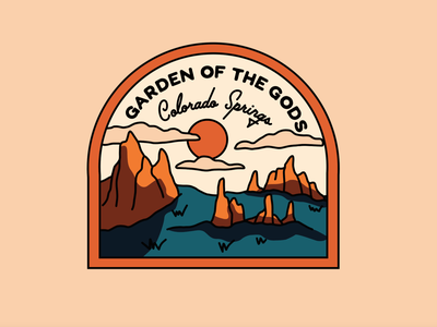 Garden of the Gods merch design adventure hiking garden of the gods colorado springs colorado badge design travel merch design landscape t shirt mountains outdoors nature illustration
