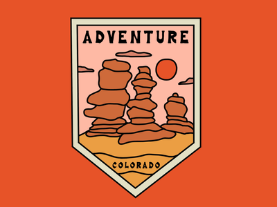 Garden of the Gods merch 2 adventure hiking garden of the gods colorado springs colorado merch badge design travel merch design landscape t shirt mountains outdoors nature illustration