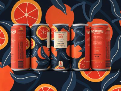 Lostboy Cider February Can: Ruby Red branding beverage packaging beverage food grapefruit oranges fruit merch wrapping paper illustration craft cider packaging package design can design label cider