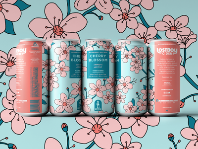 Lostboy Cider March Can: Cherry Blossom merch design drawing outdoors nature branding flowers cider packagingdesign packaging label can cherry blossom illustration