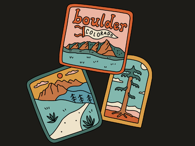 Colorado Hike Patches landscape merch design drawing mountains outdoors nature illustration hiking hike boulder colorful badge patch colorado