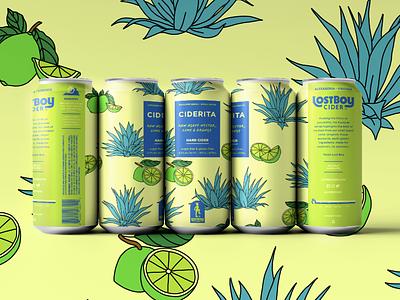 Lostboy Cider May Can: Ciderita ciderita drink label design branding illustration summertime agave lime package label can can design cider