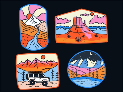 Colorful Adventure Badges trails hiking jeep land rover adventure stream desert colorful t shirt merch design patch badge overlander branding landscape drawing mountains outdoors nature illustration