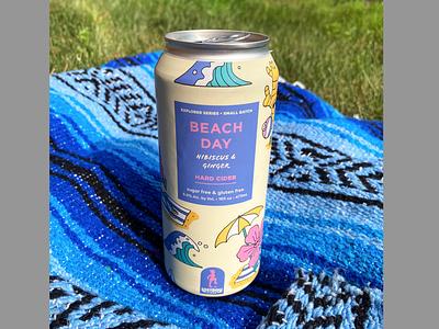 Lostboy Cider July Can: Beach Day drink summer ocean wave hibiscus beach ginger branding beer label label packaging design packaging cider label cider illustration