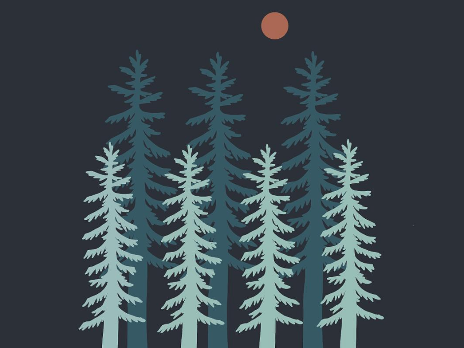 Sequoia National Park simple landscape outdoors nature mountains drawing design illustration