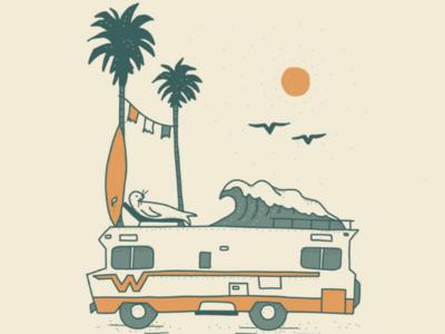 San Diego vanlife outdoors drawing design illustration ocean surf palm trees california san diego