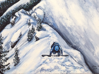 Detail shot of an acrylic painting of Ski Touring